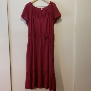Fuschia Midi Dress with Crochet Sleeves